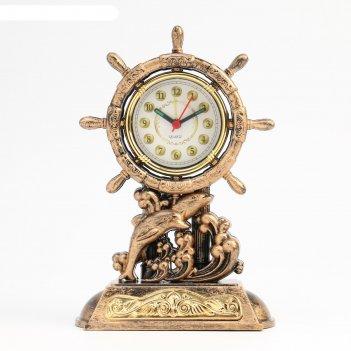 Часы настольные штурвал, с будильником, 3 aa. от сети. дискретный ход