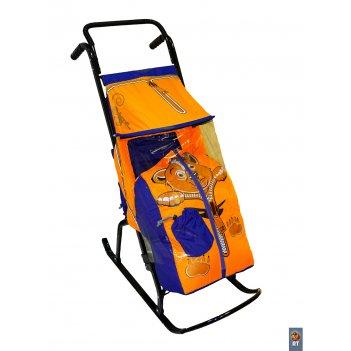 Санки-коляска снегурочка 2-р медвежонок синий-оранжевый