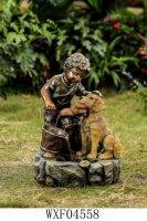 Фонтан мальчик с собакой, l42 w36 h63 см