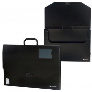 Папка-портфель a3, 1 отделение, на замке brauberg «консул», чёрная