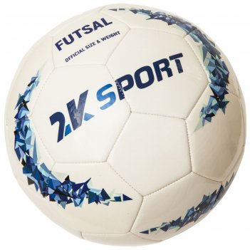 Мяч мини-футбольный 2k sport сrystal optimal sala white/royal, размер 4