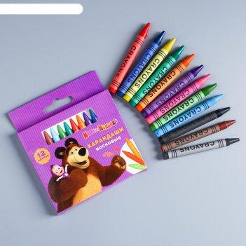 Восковые карандаши маша и медведь , набор 12 цветов, высота 1 шт - 8 см, д