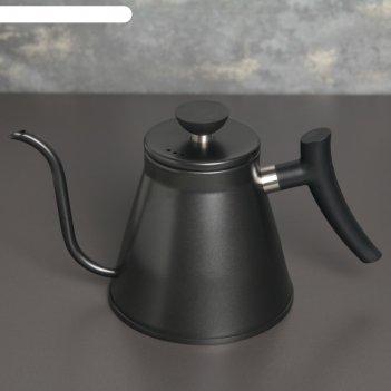 Кофейник с длинным носиком пуровер 1,2 л , черный, 304 сталь
