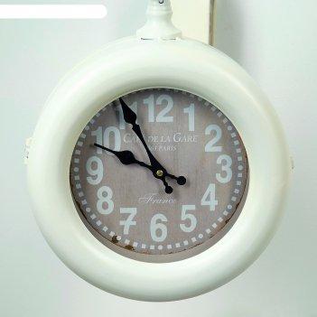 Часы настенные двойные, серия: садовые, sweet, белые d=21 см, 52х14х48 см