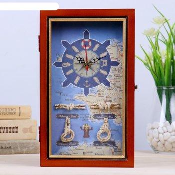 Ключница дерево 4 крючка с часами корабль, морские узлы и карта золотая по