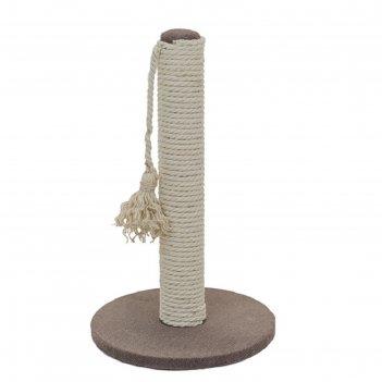 Когтеточка-столбик кантри круглая, 28 х 28 х 47 см, рогожка, джут белёный,