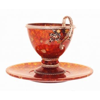 Чашка чайная виноград большая 125 мл из ювелирной бронзы