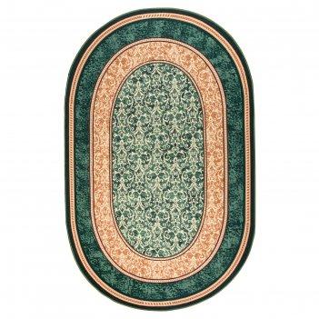Ковер овальный медина, размер 200х300 см, цвет зелёный 60/2, войлок 195г/м