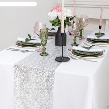Дорожка с пайетками на стол, цв.серебро, 30*160 см