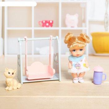 Кукла малышка с качелью и питомцем  , микс