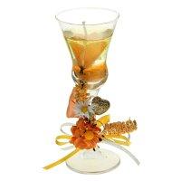 Свеча гелевая цветочная композиция, цвет оранжевый