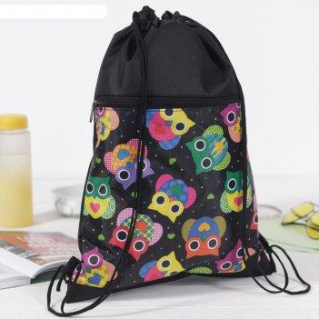 7926 п-600/д сумка-мешок для обуви 34*1*45, н/карман на молнии, совы/черны