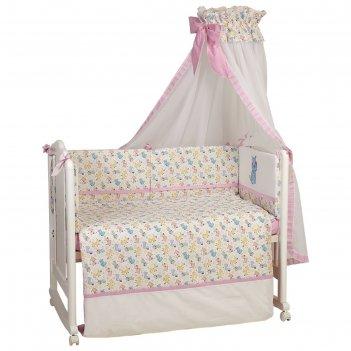 Комплект в кроватку «собачки», 6 предметов, цвет розовый
