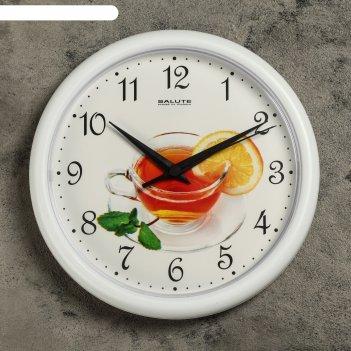 Часы настенные, серия: кухня, чай, белый обод, 24х24 см