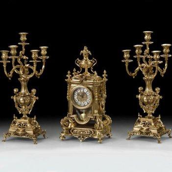 Часы каминные с маятником франция с канделябрами на 5 свечей, 3 предм.