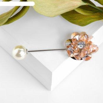 Булавка цветочная композиция, цвет розово-белый в серебре