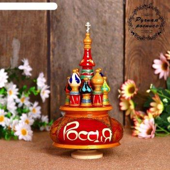 Сувенир-шкатулка музыкальная храм. россия, 19х15,5 см, красная