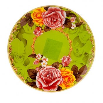 Блюдо сервировочное розы d=30см. (min6) (стекло) (транспортная упаковка)