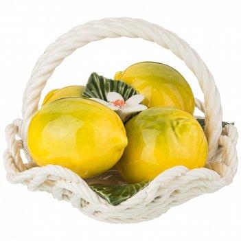 Изделие художественно-декоративное корзинка с лимонами высота 15 см