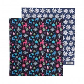 Бумага для скрапбукинга «праздник», 20 x 21.5 см, 180 г/м