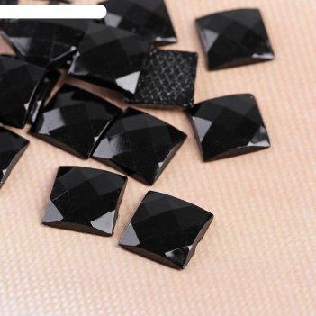 Стразы термоклеевые квадрат, 20шт, 10 х 10мм,цвет чёрный