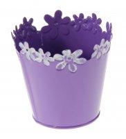 Кашпо оцинкованное цветочный край 10*10 см, фиолетовое