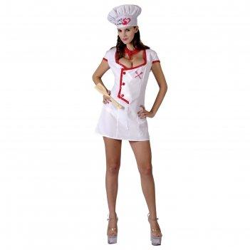 Карнавальный костюм для взрослых любовь шеф-повара,3 пр: платье, шляпа, ша