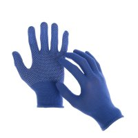 Перчатки х/б с нейлоновой никтой с пвх точка синие