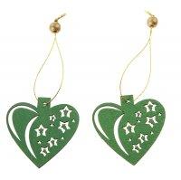 Подвеска зелёное сердце со звездами, золотая нить, набор 2 штуки