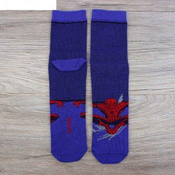 Носки  детские полоса человек-паук, марвел 16-18 см, 4-6 лет., 80% хл.,17%