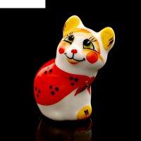 Статуэтка фарфоровая «кошка матрёшка», 6,5см