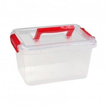 Контейнер для хранения с крышкой на защелках и ручкой, цвет микс