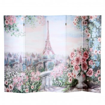 Ширма картина маслом. розы и париж, 250 x 160 см