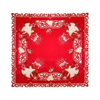 Скатерть колокольчики на красном 85*85 см (кор=100 шт)