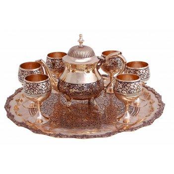 Набор посуды золотистый с черным восточный мотив: поднос, 6 чашек, чайниче