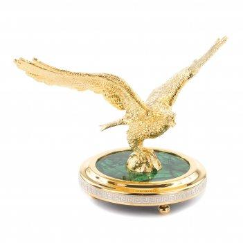 Статуэтка орел малахит позолота 185х105х125 мм 2150 гр.