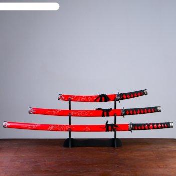 Катаны сувенирные 3в1, на подставке, дерево, красные ножны, резной дракон