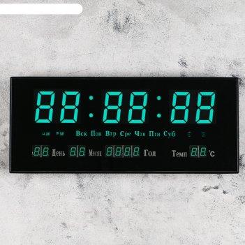 Часы настенные электронные с термометром, будильником и календарём, цифры