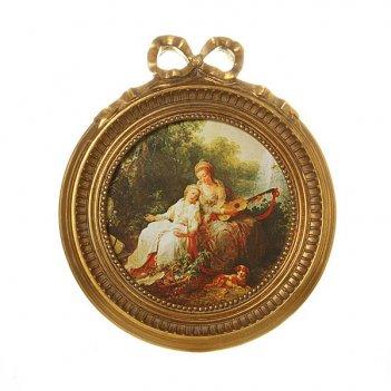 Картина дамы с гитарой полотно-23*23 см.багет-35...