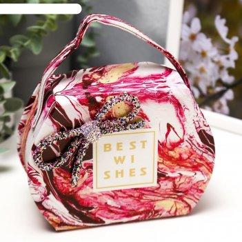 Шкатулка кожзам для украшений мрамор розовый сумочка 12х16х7 см