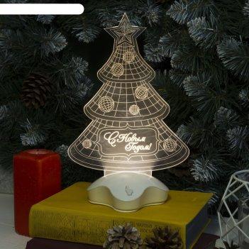Подставка световая елка с шарами, 25х16 см, 7 led, smd3528, 3хааа (не в ко