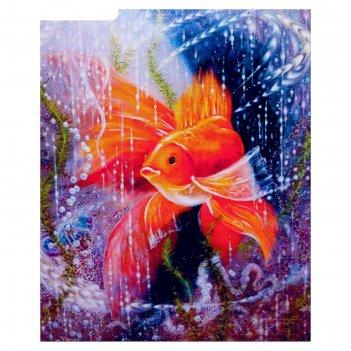 Алмазная мозаика золотая рыбка 30 x 40 см, 35 цветов