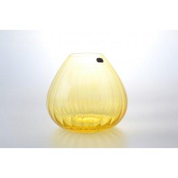 Ваза желтая crystalex bohemia waterfall 18 см