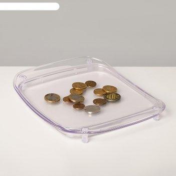 Монетница пластиковая, объемная, с местом для рекламной вставки h=3,6 см