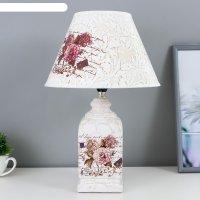 Лампа настольная керамика букет с пионами прямоугольная е14 220в 42х25х25