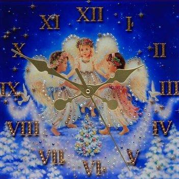 Картина сваровски - часы рождественские ангелы