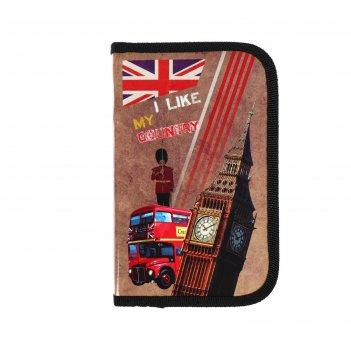 Пенал 1 секция 115 х 190, ламинированный картон, по-02, country london