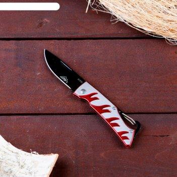 Нож перочинный мастер к. лезвие drop-point 7см, рукоять огонь, крепление-п