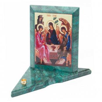 Икона с подсвечником святая троица средняя змеевик 120х120х130 мм 600 гр.