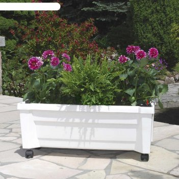 Ящик для растений калипсо 42л, на колесах, белый